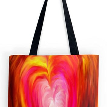 ON SALE Fine art Tote Bag, Valentines Day, Love, romance, soulmate, Heart, Pink, abstract, impressionist, expressionist,  double sided print