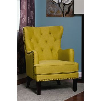 Flora collection lime fabric upholstered wing back accent side chair with tufted back and nail head trim