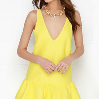 Bring to Light Yellow Drop Waist Dress