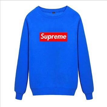 Supreme Round collar female loose couple costume Sweater Blue