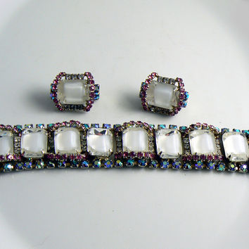 Vintage Hobe Ice Mirror Rhinestone Art Glass Set, Bracelet and Clip Earrings