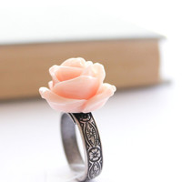 Pink Rose Ring, Flower Ring, Pink Peach, Shabby Chic, Romantic, Bridal, Bridesmaids Accessories, Resin Rose, Antique Silver Floral