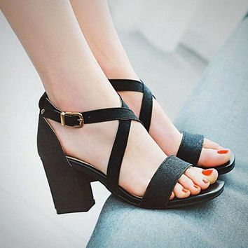 Women's Block High Heel Sandals Party Platform Chunky Dress Shoes Fashion Pumps