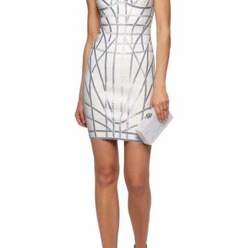 Silver Foil Print White Bandage Dress