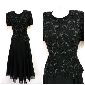 Vintage Dress Adrianna Papell Evening Dress Beaded Black Prom Party Cocktail Holiday Dress Small