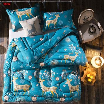 Winter duvet Christmas Deer elk thicken comforter black and white snowflake quilted quilt Eiffel tower duvet king bed warm cover