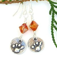 Paw Print Dog Rescue Earrings, Chili Pepper Swarovski Crystals Sterling Handmade Jewelry