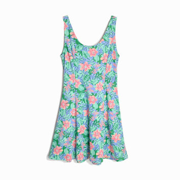 Vintage 90s Floral Sundress in Green & Blue  / Tropical Dress - women's small