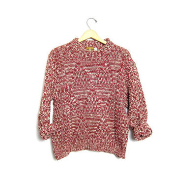 Chunky Knit Sweater 1950s Boxy Red White Marled Thick Knit Wool Sweater Textured Loose Knit 50s Cropped Boho Grunge Pullover Women Medium