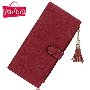 BVLRIGA Long Lady Leather Wallet Women Wallet For Credit Card Holder Female Purse Women Clutch Coin Purse Phone walet Money Bag