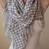 New -Gift - Light Gray and White Houndstooth Scarf - Thick Cotton Fabric - Triangular
