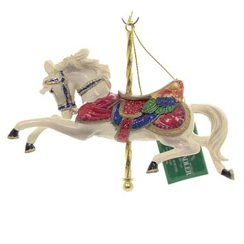Holiday Ornaments CAROUSEL ANIMAL Polyresin Red Saddle C8523 Wht Horse