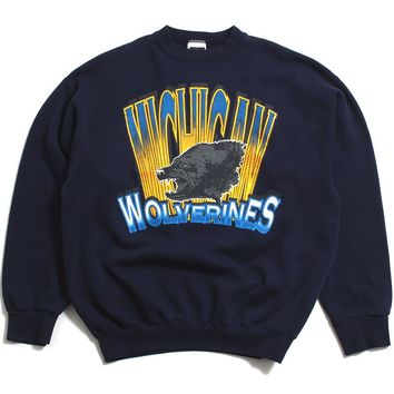 University of Michigan Wolverine Head Front & Back Tultex Crewneck Sweatshirt Navy (XL)