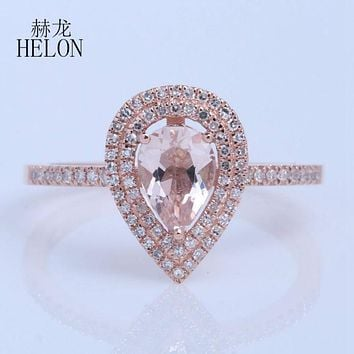 HELON Solid 14k Rose Gold Engagement Fine Ring Two Halos 0.25ct Diamonds 5x7mm Pear 0.6ct Morganite glamorous romantic Jewelry