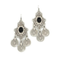 Silver Coin Earrings floral design  Gypsy Beachy Ethnic Tribal Festival Jewelry Turkish Bohemian (Size: 26 g, Color: Silver) = 1928342404