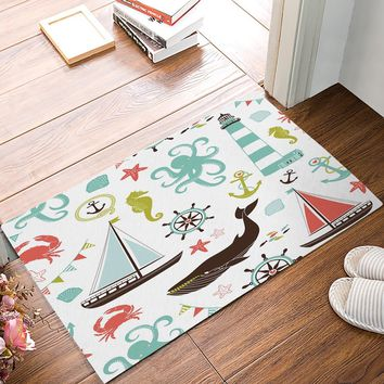 Autumn Fall welcome door mat doormat Beach Theme - Whale Starfish Seashell Boat Tower Anchor Nautical s Kitchen Floor Bath Entryway Rug Mat AT_76_7