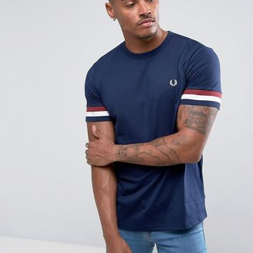 Fred Perry Striped Cuff T-Shirt in Blue at asos.com