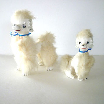 Poodle Figurines with Fur Vintage 1950s Shabby Chic