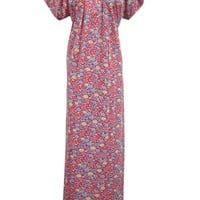 Red Muumuu Caftan Kaftan Printed Cotton Long Maxi Dress for Womens X-large Sz