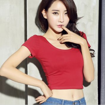 New fashion pure color short sleeve belly hollow T-shirt red