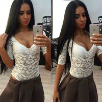 Summer V-neck Lace Tops Half-sleeve Bottoming Shirt [4970292740]