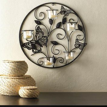 Wall Sconce-Circle Of Iron Butterflies Candle Holder