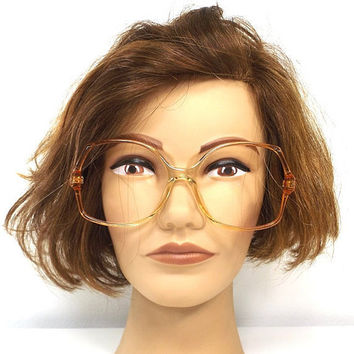 vintage 70s deadstock square eyeglasses oversize frames plastic women eye glasses eyewear translucent amber brown cognac orange peach 164a