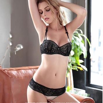 Ultra thin Half Cup Bra and briefs Lace Bras Set