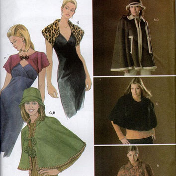 Simplicity Sewing Pattern Uncut FF Cape Capelet Shrug Bucket Hat Formal Shawl Casual Shoulder Jacket Plus Size Fashion L XL Bust 40