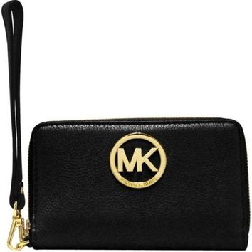 Michael Kors Fulton Black Gold Phone Case Leather 32H5GFTE4L