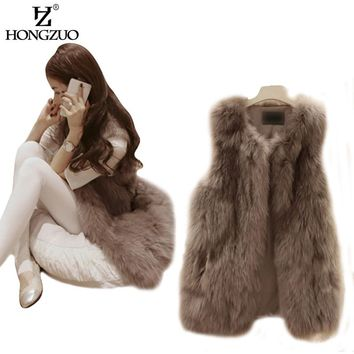 HONGZUO Women Fashion Slim Long Faux Fur Vest Sleeveless V-neck Waistcoat Jacket Coat &Jacket For Female Outwear Plus Size PC046