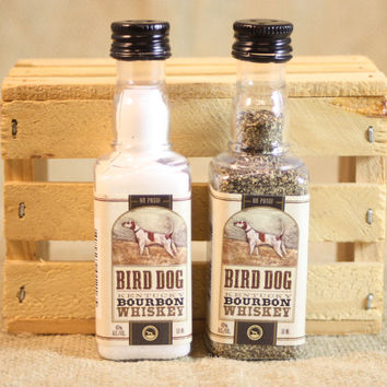 Salt & Pepper Shakers Upcycled from Bird Dog Kentucky Bourbon Mini Liquor Bottles, Mini Liquor Bottle Shaker Set