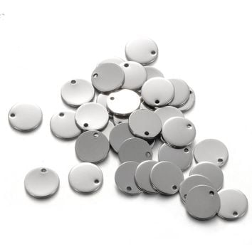 LASPERAL 50PCs Stainless Steel Round Dog Tag Pendants Stamping Blanks Pendants For Necklaces DIY 10mm Jewelry Making Silver Tone