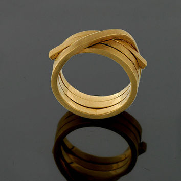 Gold wedding band Unique women wedding ring wide  14k/18k gold Wrapped Ring Organic Band Statement Ring gold Wire Ring free shipping