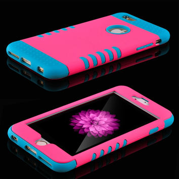 Luxury 3 in 1 Plastic Hard Case For iphone 6 6S 4.7 / 6 6S Plus 5.5 Silicone Cover Heavy Duty Armor Hybrid Phone Case