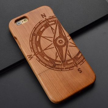 Compass Natural Wooden Wood Phone Case for Iphone 7 Plus 6s 6s Plus  6 6 Plus Wood Phone Case,  Samsung S7S6 S5 Note 5 4 Z0043