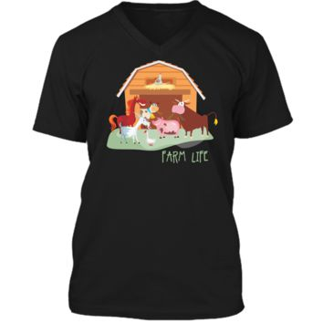 Cute Funny Farm Animal Barnyard Scene T-shirt - Horses Pig Goat Duck Mens Printed V-Neck T