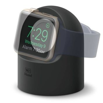 ICIK4S2 elago W2 Stand [Black] - [Supports Nightstand Mode][Cable Management][Scratch-Free Silicone] - for Apple Watch Series 1, 2, and 3