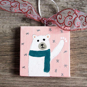 Polar Bear Holiday Ornament on Mini Canvas, Handmade Christmas Ornament, Polar Bear Acrylic Painting, Hand Painted Ornament, Mini Painting