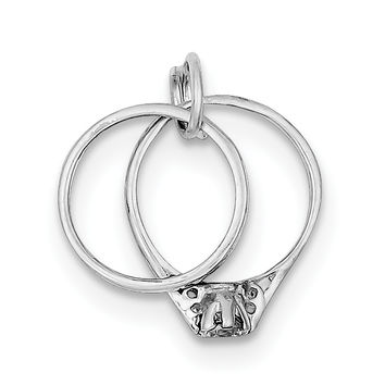 Sterling Silver Rhodium-plated Wedding Ring Set Charm QC1482