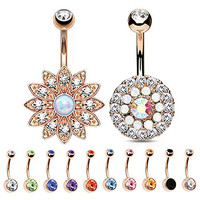 BodyJ4You® Belly Button Ring Rose Gold Stainless Steel 14G Piercing Set 12 Pieces