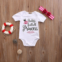 2PCS Baby clothing Romper Newborn Kids Baby Girl Romper Jumpsuit +Headband Outfit Clothes