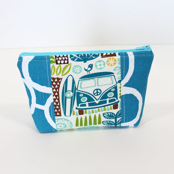 Zippered Pouch Cosmetic Bag Makeup  Accessory Pouch with Blue Geometric print and Tropical fabric Peace Van