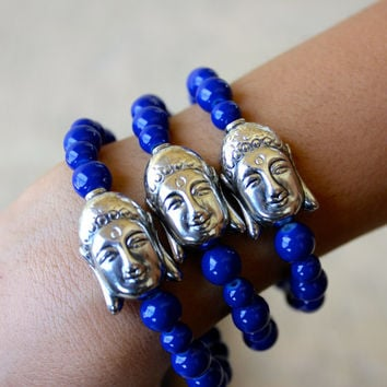 Blue Beaded Silver Buddha Head Bracelet