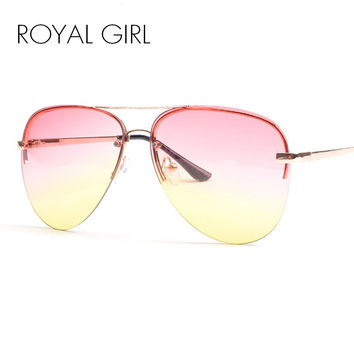 ROYAL GIRL Quality Women Rimless Sunglasses Classic Brand Designer Chic Sunnies Summer Style Female Rivet Shades UV400 ss097