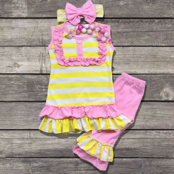 Yellow & Pink Ruffled Capri Outfit