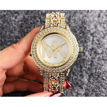 MK Michael Kors men and women style tide brand simple new quartz watch F-Fushida-8899 gold