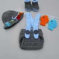 Newborn Fishing Outfit Charcoal Blue Infant Photo Prop