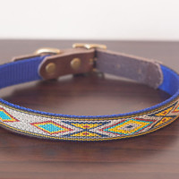 Custom leather, nylon and brass Navajo dog collar. Personalized.