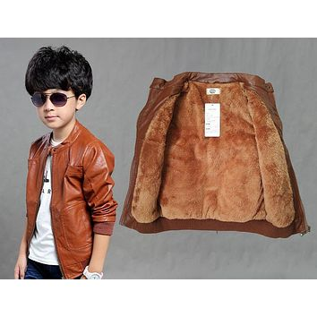 Teenage Boys Autumn Jackets Warm Velvet PU Leather Double-deck Bomber Jacket Young Children Boy Outerwear And Coats 6-12Y SY